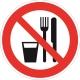 Знак Запрещается принимать пищу