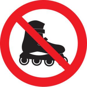 Знак вход на роликах запрещен