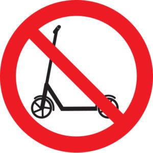 Знак вход с самокатами запрещен